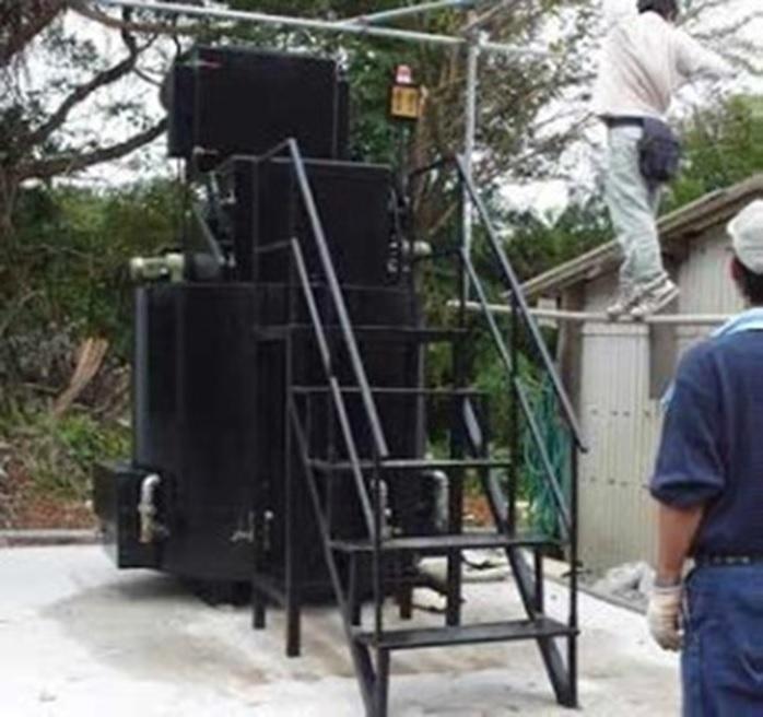磁気熱分解炉の離島での設置例