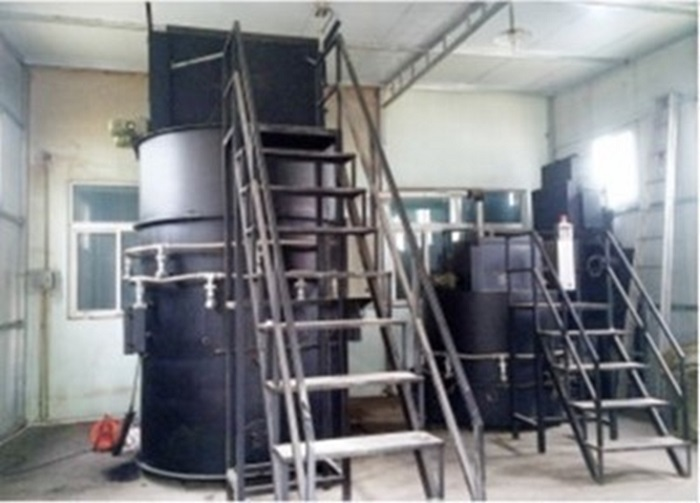 磁気熱分解炉の生活ゴミ処理用設置例